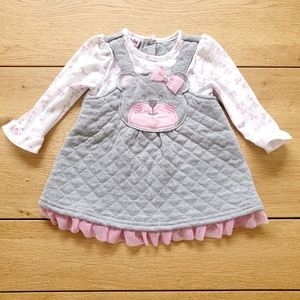 Nannette Baby Long Sleeve Grey and Pink Bear Dress